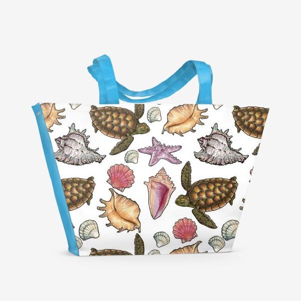 Пляжная сумка «Черепаха и ракушки»