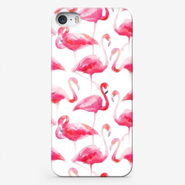 Чехол iPhone «Розовые акварельные фламинго »