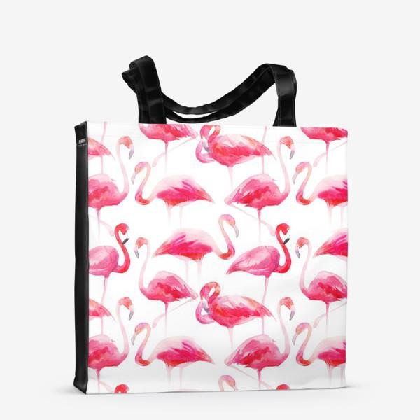 Сумка-шоппер «Розовые акварельные фламинго »