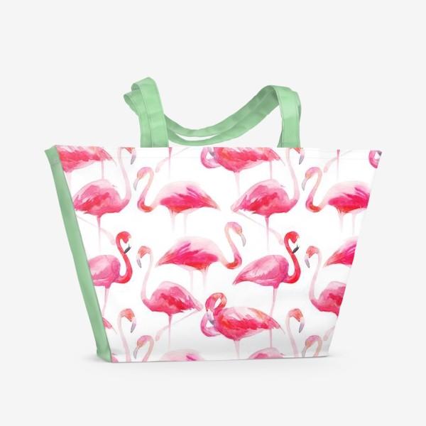 Пляжная сумка «Розовые акварельные фламинго »