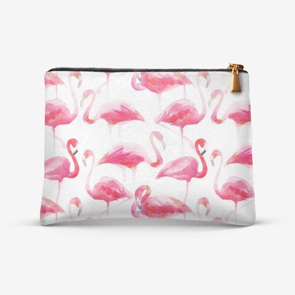 Косметичка «Розовые акварельные фламинго »