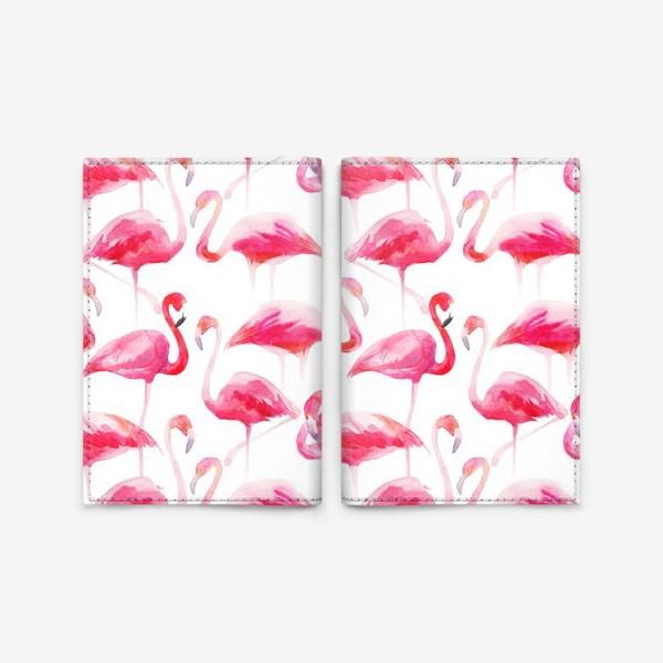 Обложка для паспорта «Розовые акварельные фламинго »