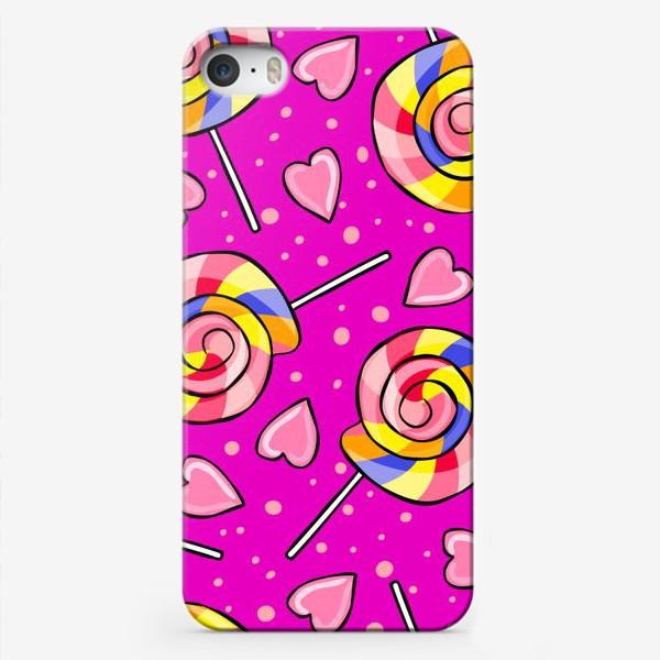 Чехол iPhone «Леденец и сердечки»