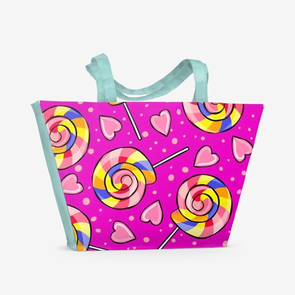 Пляжная сумка «Леденец и сердечки»