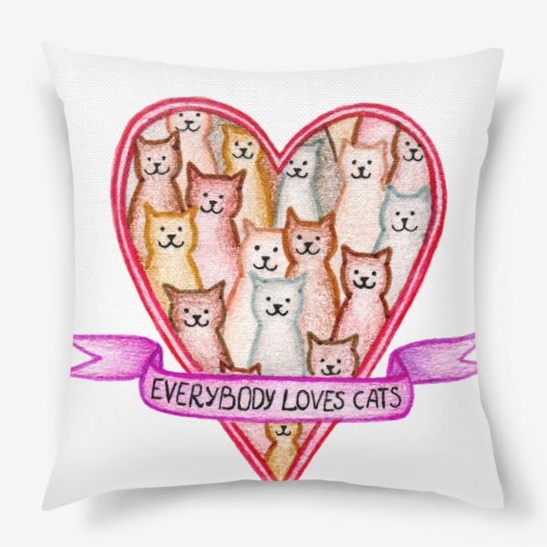 Подушка «Все любят котиков»