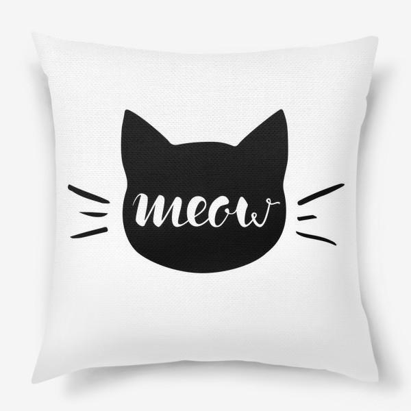 Подушка «Чёрная кошка. Cat meow»