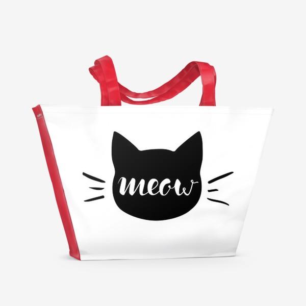 Пляжная сумка «Чёрная кошка. Cat meow»