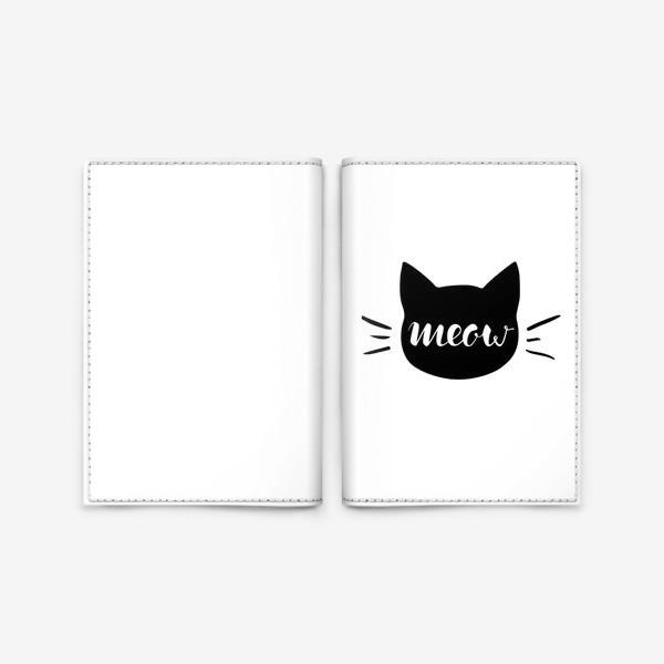 Обложка для паспорта «Чёрная кошка. Cat meow»