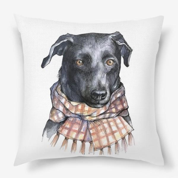 Подушка «Собака и шарф»