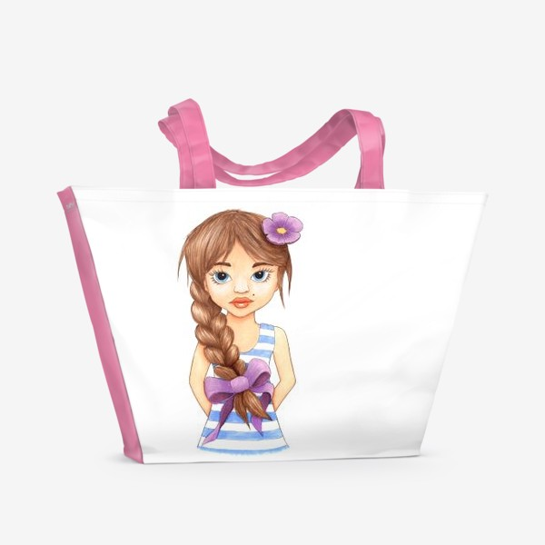 Пляжная сумка «Девочка с косой»