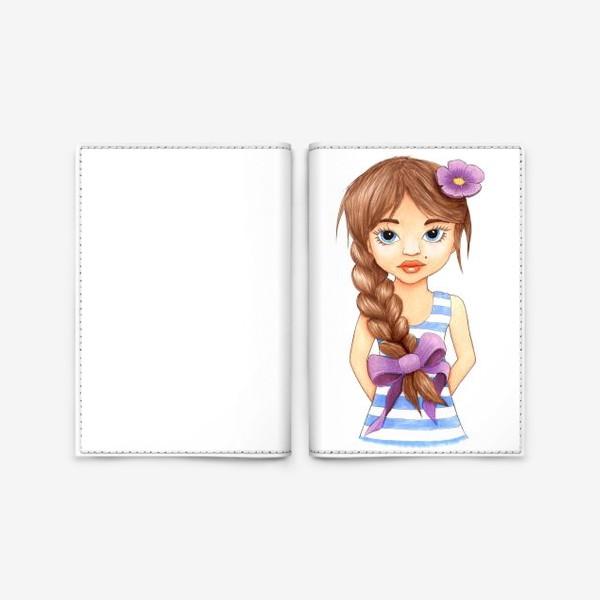 Обложка для паспорта «Девочка с косой»