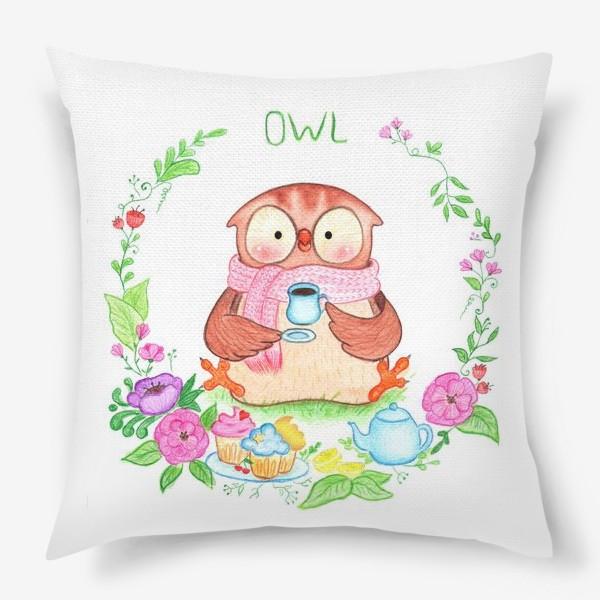 Подушка «Совушкино чаепитие»