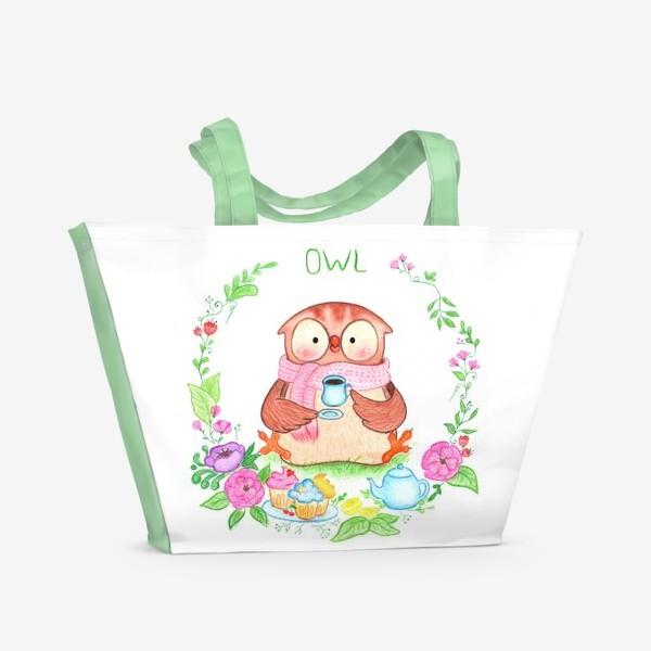 Пляжная сумка «Совушкино чаепитие»