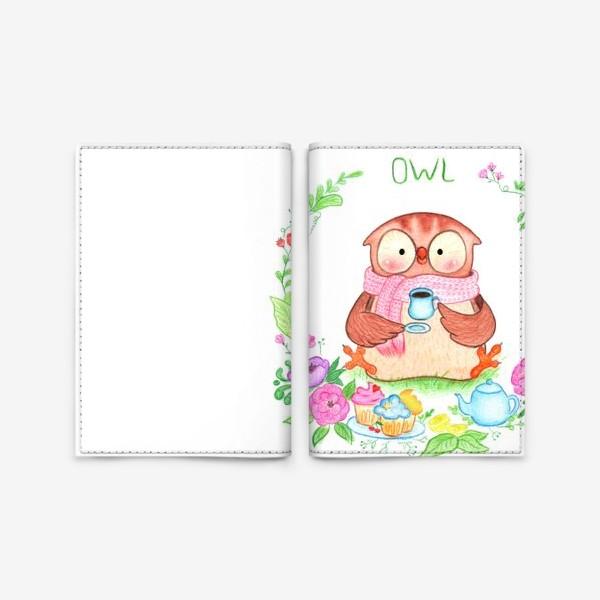 Обложка для паспорта «Совушкино чаепитие»