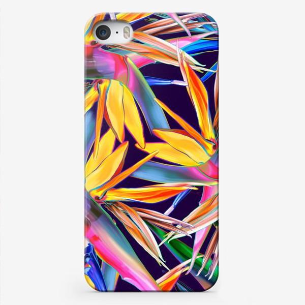 Чехол iPhone «Тропические цветы, стрелиция»