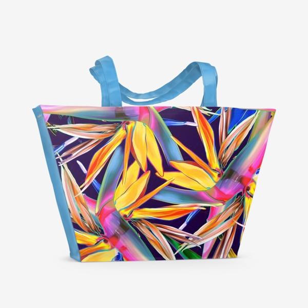 Пляжная сумка «Тропические цветы, стрелиция»