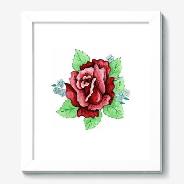 Картина «Декоративная роза с незабудками»