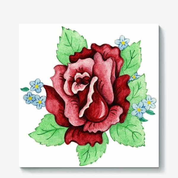 Холст «Декоративная роза с незабудками»