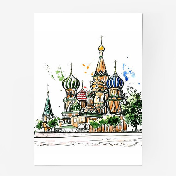 Постер «Акварель Собор Василия Блаженного»