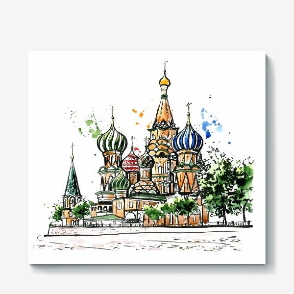 Холст «Акварель Собор Василия Блаженного»