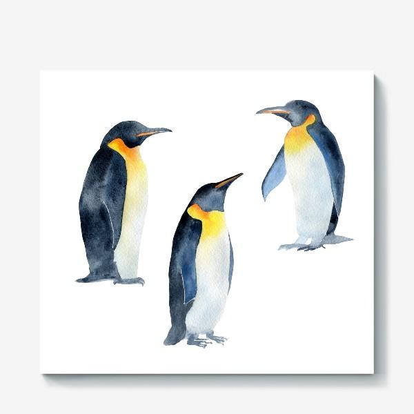 Холст «Акварель Пингвины»