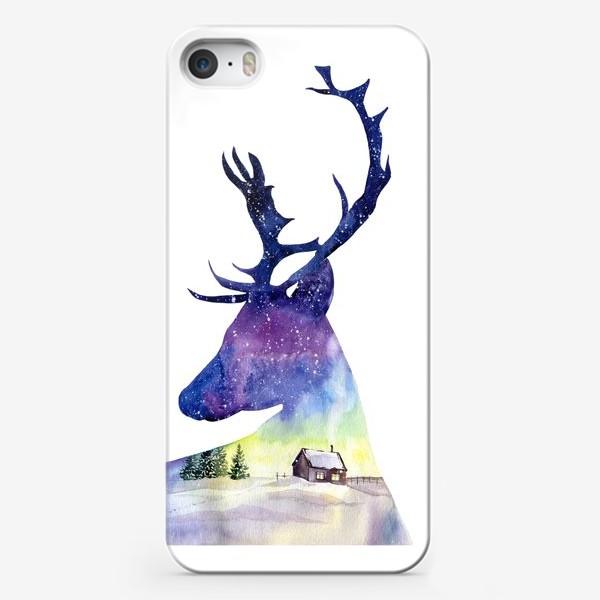 Чехол iPhone «Акварель Северный олень»