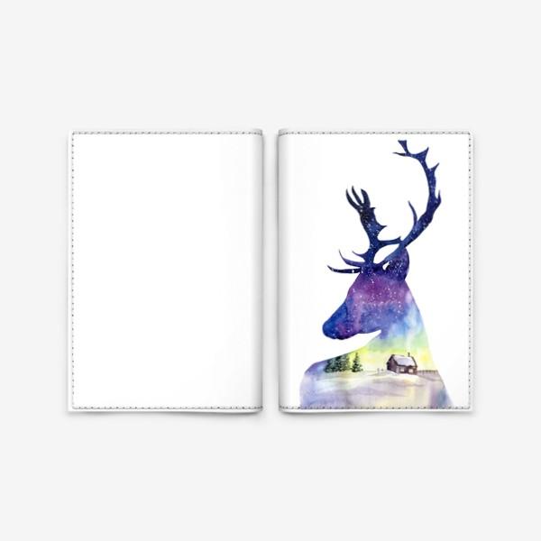 Обложка для паспорта «Акварель Северный олень»
