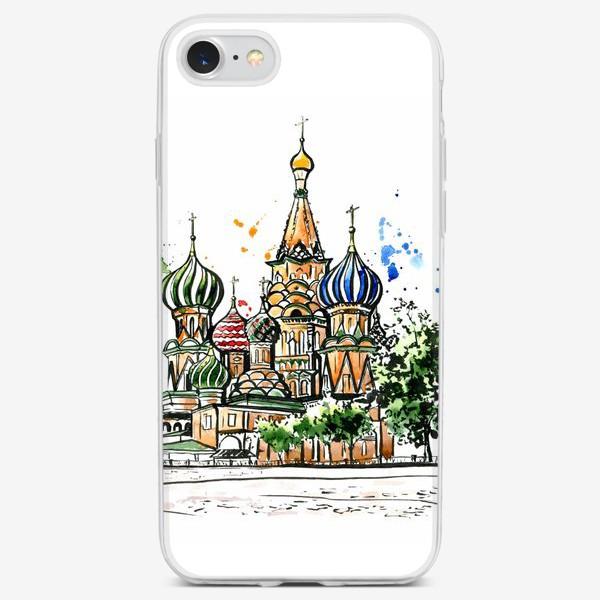 Чехол iPhone «Акварель Собор Василия Блаженного»