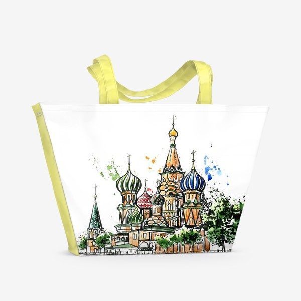 Пляжная сумка «Акварель Собор Василия Блаженного»