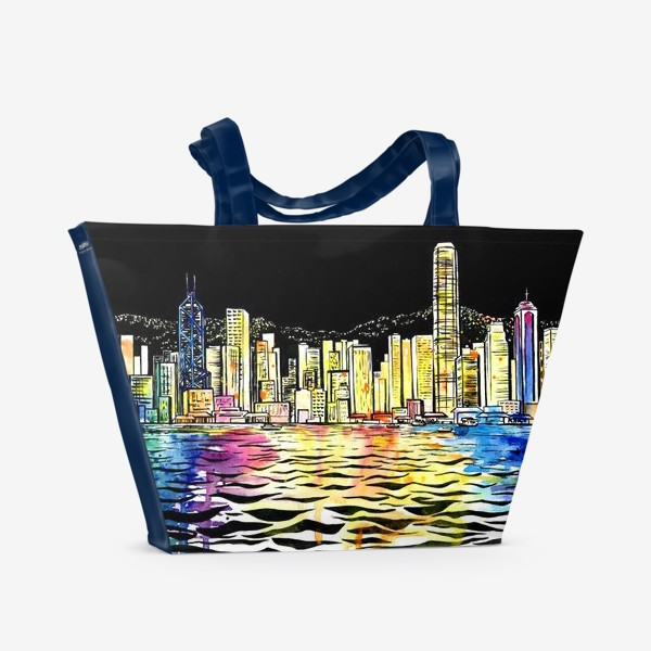 Пляжная сумка «Акварель Ночной Гонконг»