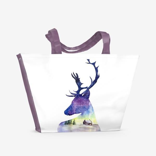 Пляжная сумка «Акварель Северный олень»