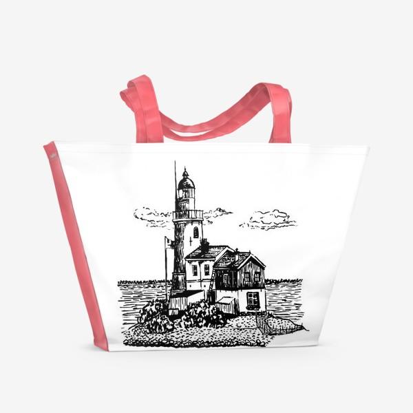 Пляжная сумка «Старый маяк на острове»
