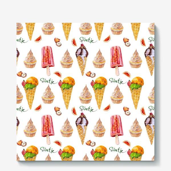 Холст «Сладости, мороженое и кексики»