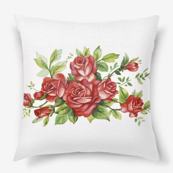 Подушка «Алые розы»