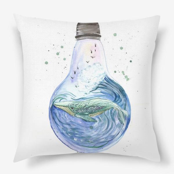 Подушка «Море в лампочке. Кит»