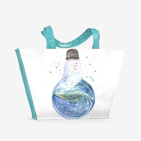 Пляжная сумка «Море в лампочке. Кит»