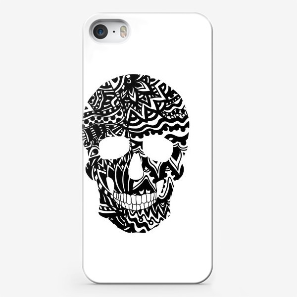 Чехол iPhone «Black Ornamental Skull»