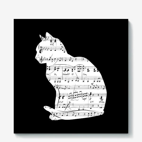 Холст «Музыкальный кот ноты»