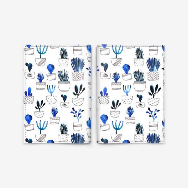 Обложка для паспорта «Синие кактусы»