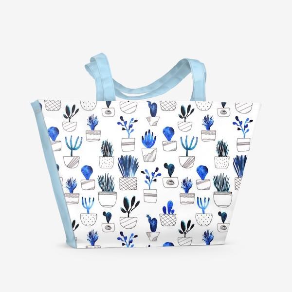 Пляжная сумка «Синие кактусы»