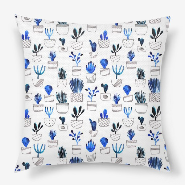 Подушка «Синие кактусы»