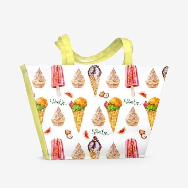 Пляжная сумка «Сладости, мороженое и кексики»