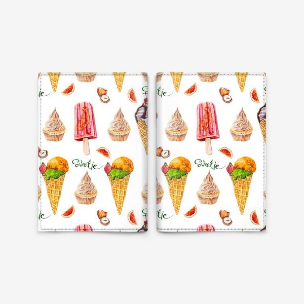 Обложка для паспорта «Сладости, мороженое и кексики»