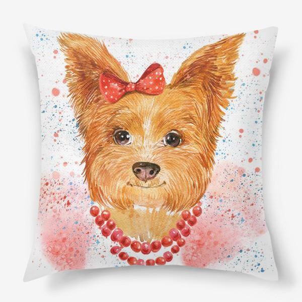 Подушка «собака акварель»