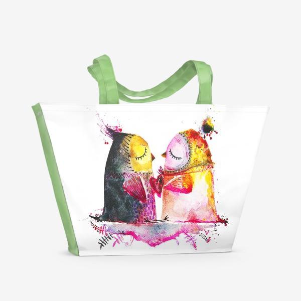 Пляжная сумка «Совы на облаке»