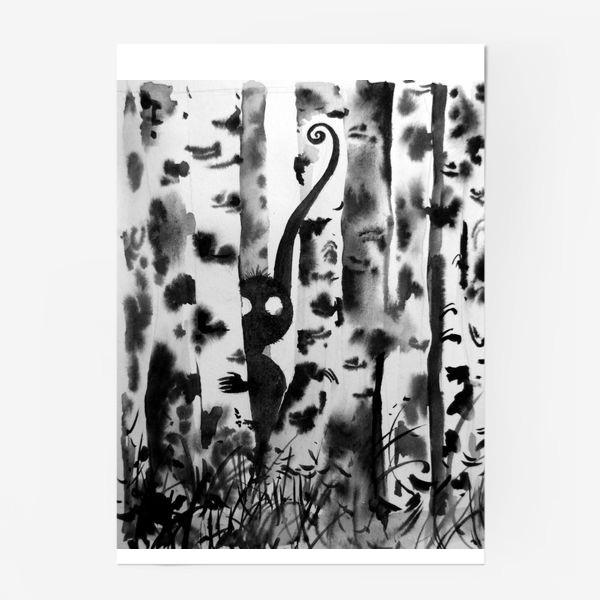 Постер «Лесной дух в березках»