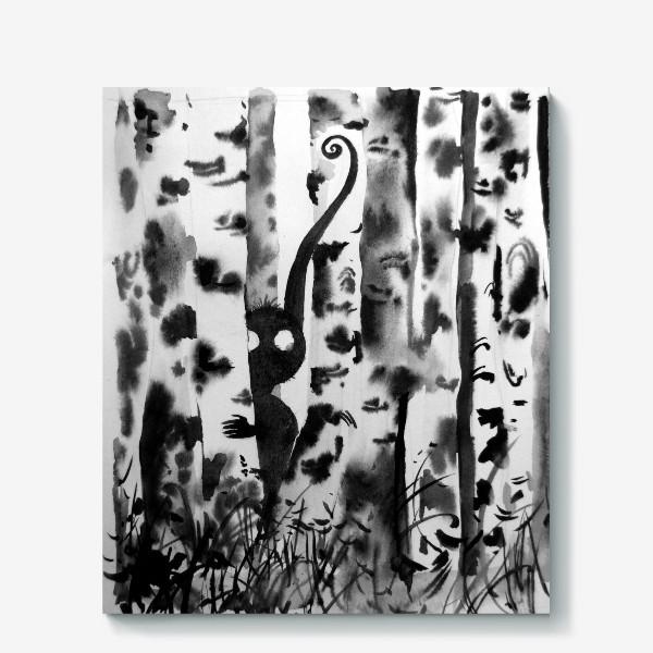 Холст «Лесной дух в березках»