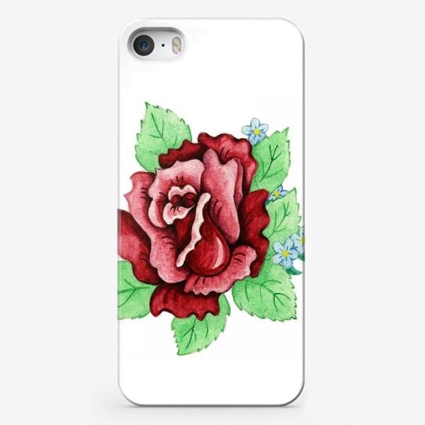 Чехол iPhone «Декоративная роза с незабудками»