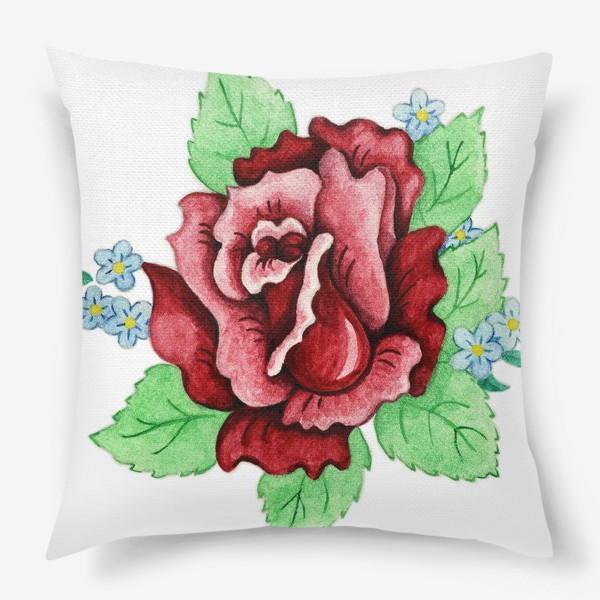 Подушка «Декоративная роза с незабудками»