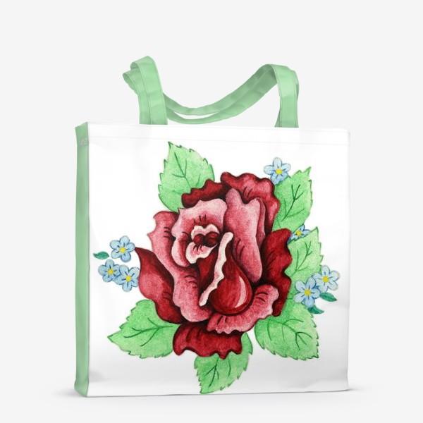 Сумка-шоппер «Декоративная роза с незабудками»